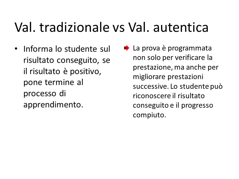 Val. tradizionale vs Val. autentica Informa lo studente sul risultato conseguito, se il risultato è positivo, pone termine al processo di apprendiment