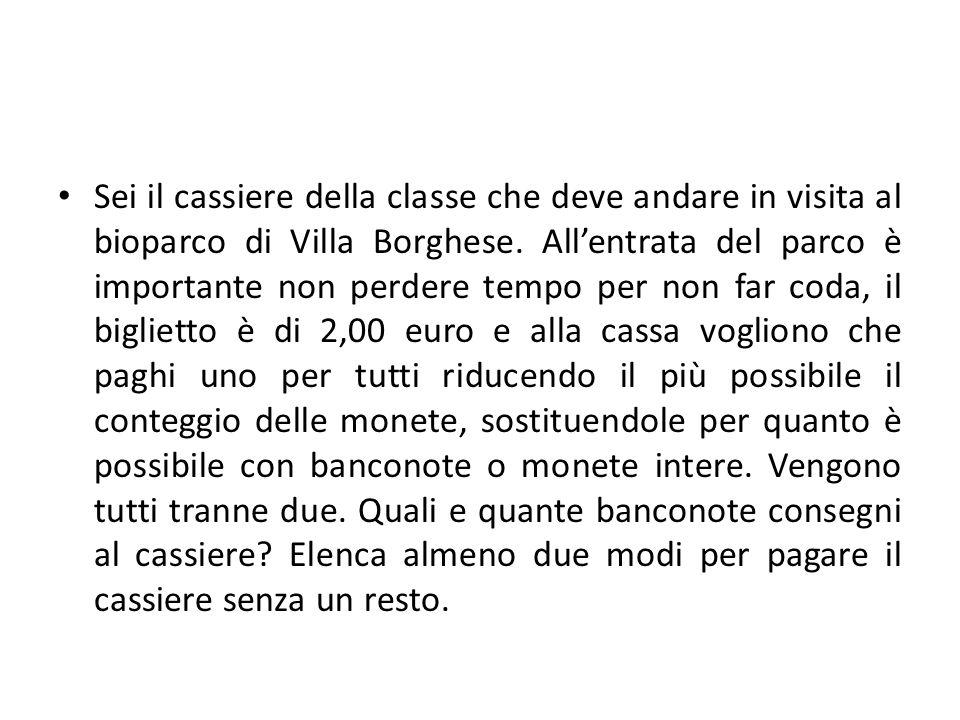Sei il cassiere della classe che deve andare in visita al bioparco di Villa Borghese. Allentrata del parco è importante non perdere tempo per non far