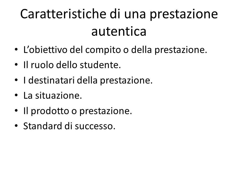 Caratteristiche di una prestazione autentica Lobiettivo del compito o della prestazione. Il ruolo dello studente. I destinatari della prestazione. La