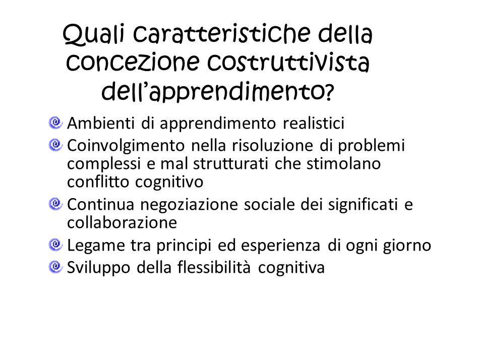 Quali caratteristiche della concezione costruttivista dellapprendimento? Ambienti di apprendimento realistici Coinvolgimento nella risoluzione di prob