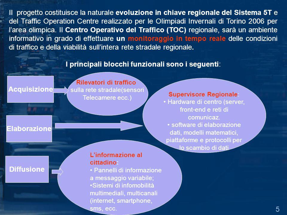 Il progetto costituisce la naturale evoluzione in chiave regionale del Sistema 5T e del Traffic Operation Centre realizzato per le Olimpiadi Invernali di Torino 2006 per larea olimpica.