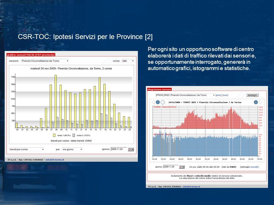 CSR-TOC: Ipotesi Servizi per le Province [2] Per ogni sito un opportuno software di centro elaborerà i dati di traffico rilevati dai sensori e, se opportunamente interrogato, genererà in automatico grafici, istogrammi e statistiche.