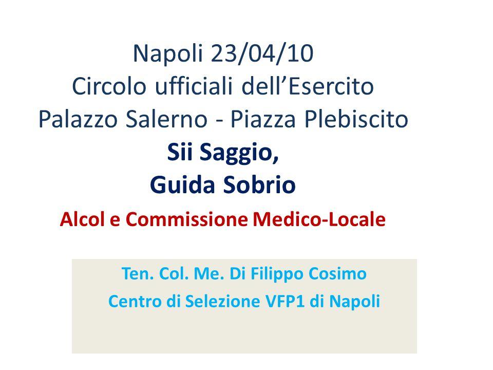 Napoli 23/04/10 Circolo ufficiali dellEsercito Palazzo Salerno - Piazza Plebiscito Sii Saggio, Guida Sobrio Alcol e Commissione Medico-Locale Ten. Col