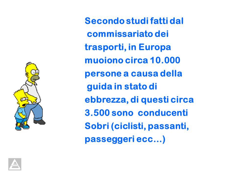 Secondo studi fatti dal commissariato dei trasporti, in Europa muoiono circa 10.000 persone a causa della guida in stato di ebbrezza, di questi circa