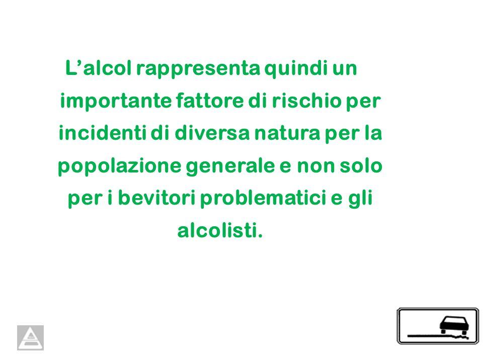 Lalcol rappresenta quindi un importante fattore di rischio per incidenti di diversa natura per la popolazione generale e non solo per i bevitori problematici e gli alcolisti.