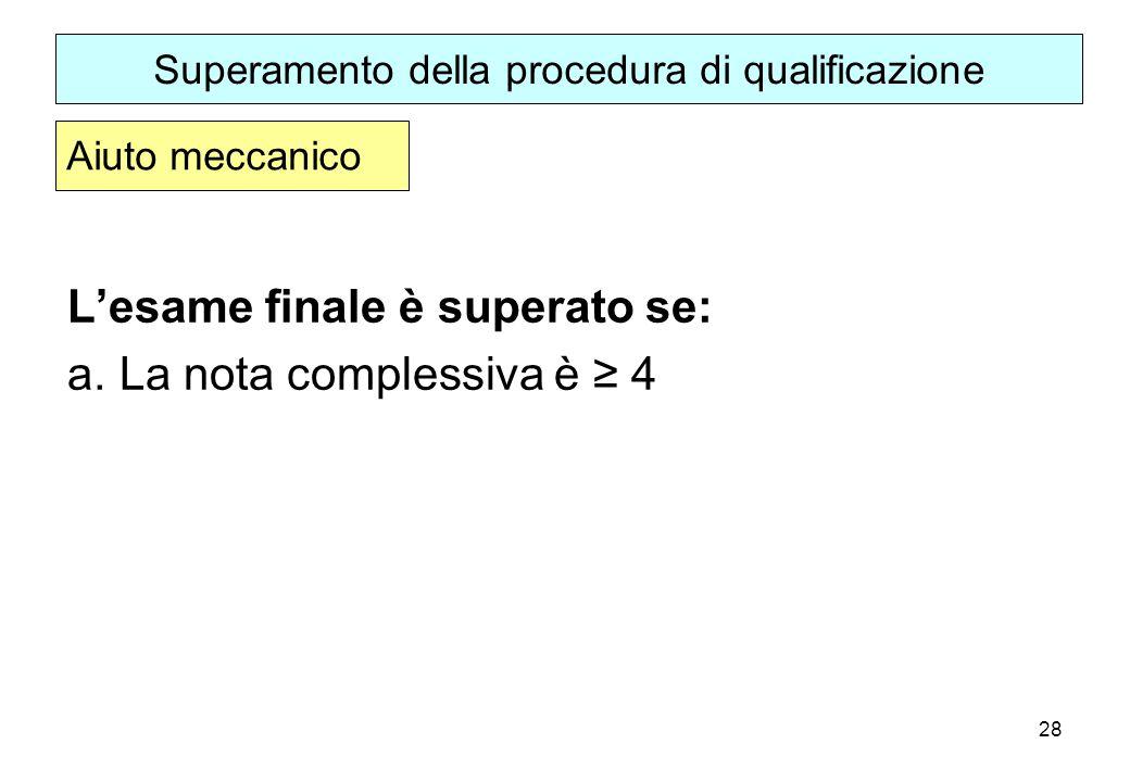 28 Lesame finale è superato se: a.La nota complessiva è 4 Superamento della procedura di qualificazione Aiuto meccanico