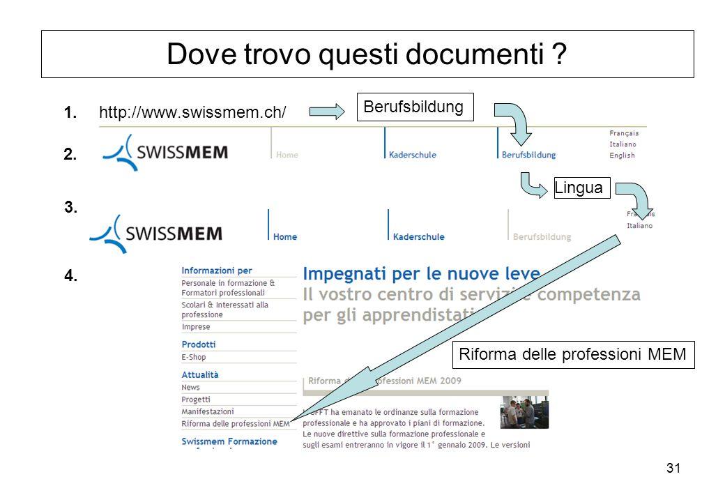 31 Lingua Dove trovo questi documenti ? http://www.swissmem.ch/ Berufsbildung Riforma delle professioni MEM 1. 2. 3. 4.