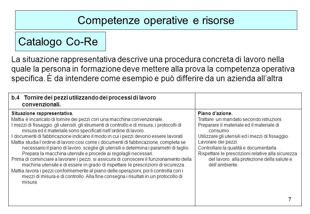 7 La situazione rappresentativa descrive una procedura concreta di lavoro nella quale la persona in formazione deve mettere alla prova la competenza operativa specifica.