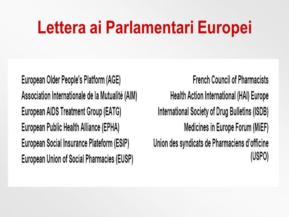 Lettera ai Parlamentari Europei