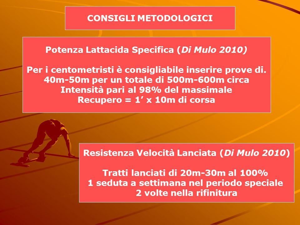CONSIGLI METODOLOGICI Potenza Lattacida Specifica (Di Mulo 2010) Per i centometristi è consigliabile inserire prove di.