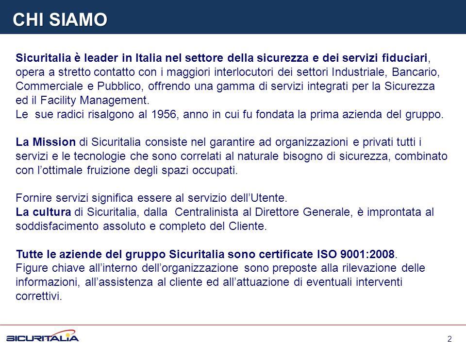 Sicuritalia è leader in Italia nel settore della sicurezza e dei servizi fiduciari, opera a stretto contatto con i maggiori interlocutori dei settori