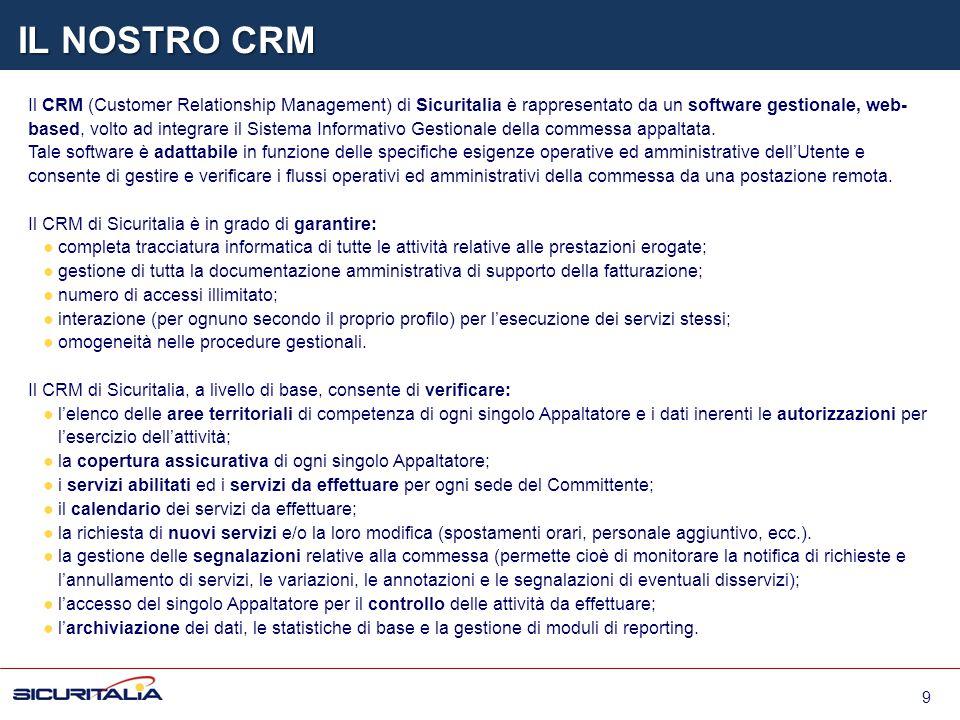 Il CRM (Customer Relationship Management) di Sicuritalia è rappresentato da un software gestionale, web- based, volto ad integrare il Sistema Informat
