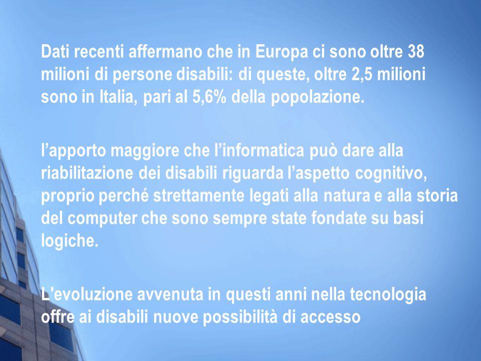 Dati recenti affermano che in Europa ci sono oltre 38 milioni di persone disabili: di queste, oltre 2,5 milioni sono in Italia, pari al 5,6% della pop