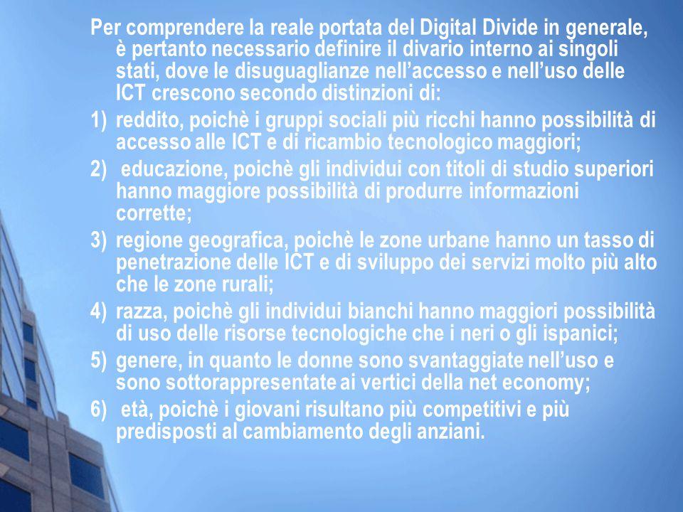 Per comprendere la reale portata del Digital Divide in generale, è pertanto necessario definire il divario interno ai singoli stati, dove le disuguagl