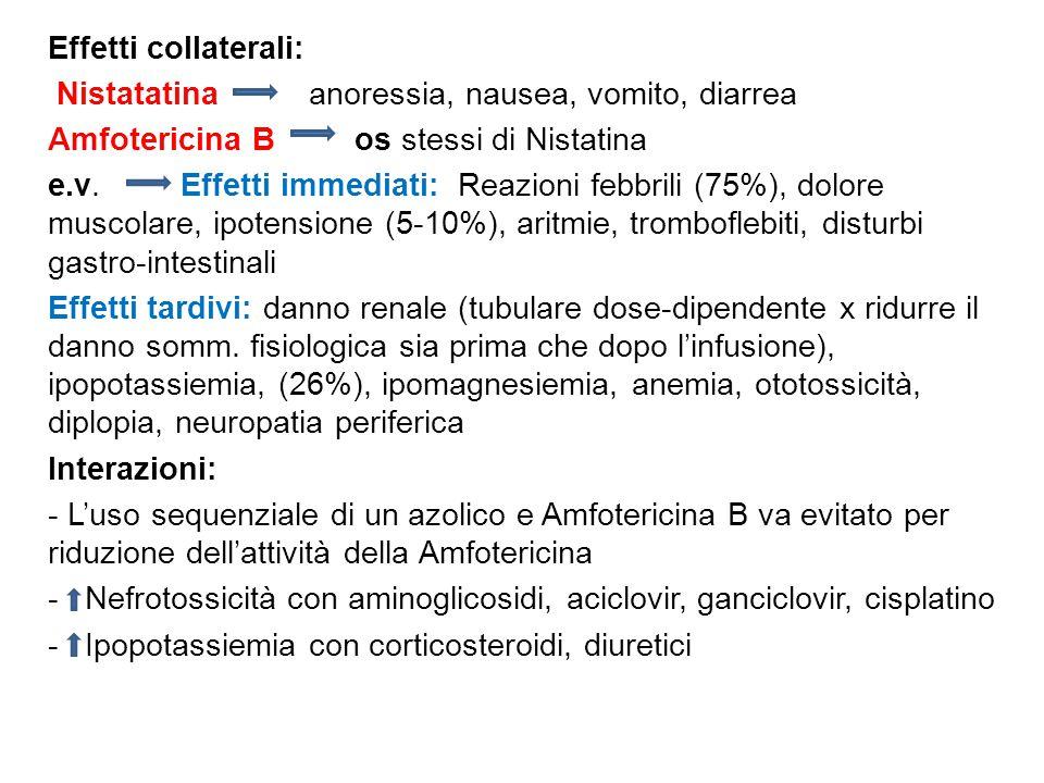 Effetti collaterali: Nistatatina anoressia, nausea, vomito, diarrea Amfotericina B os stessi di Nistatina e.v. Effetti immediati: Reazioni febbrili (7