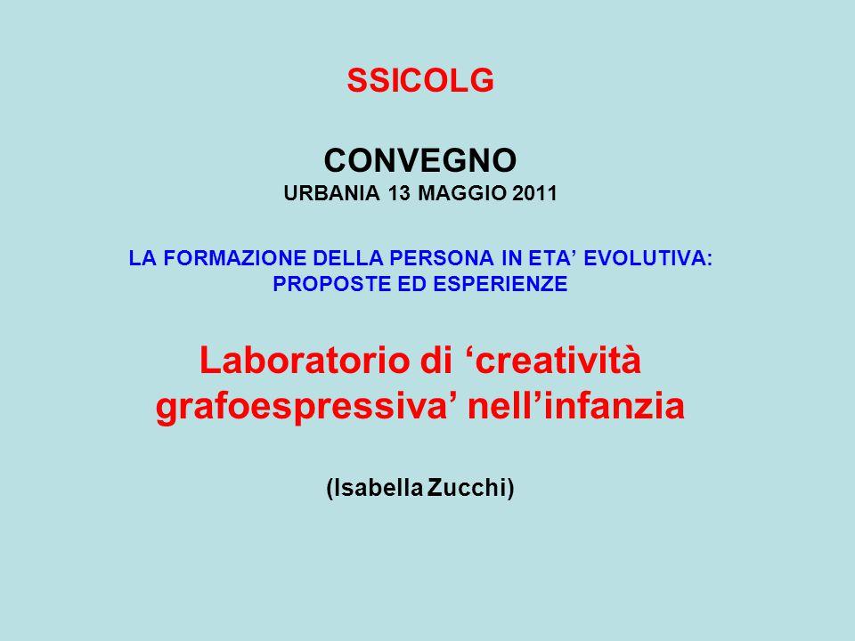 SSICOLG CONVEGNO URBANIA 13 MAGGIO 2011 LA FORMAZIONE DELLA PERSONA IN ETA EVOLUTIVA: PROPOSTE ED ESPERIENZE Laboratorio di creatività grafoespressiva nellinfanzia (Isabella Zucchi)