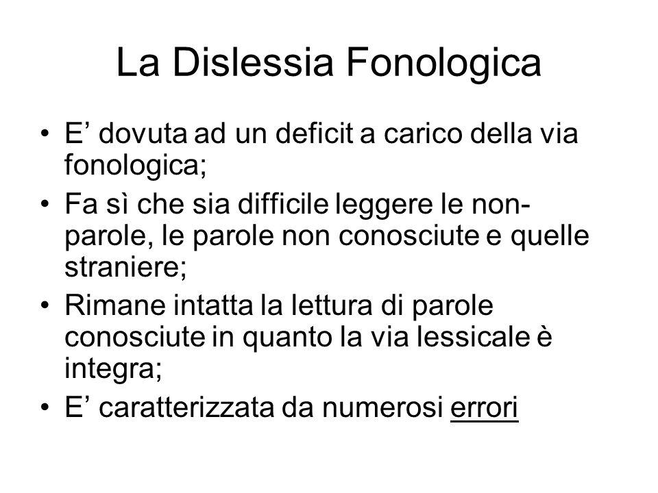 La Dislessia Fonologica E dovuta ad un deficit a carico della via fonologica; Fa sì che sia difficile leggere le non- parole, le parole non conosciute