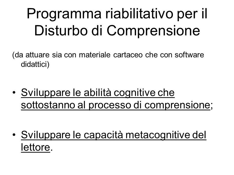 Programma riabilitativo per il Disturbo di Comprensione (da attuare sia con materiale cartaceo che con software didattici) Sviluppare le abilità cogni