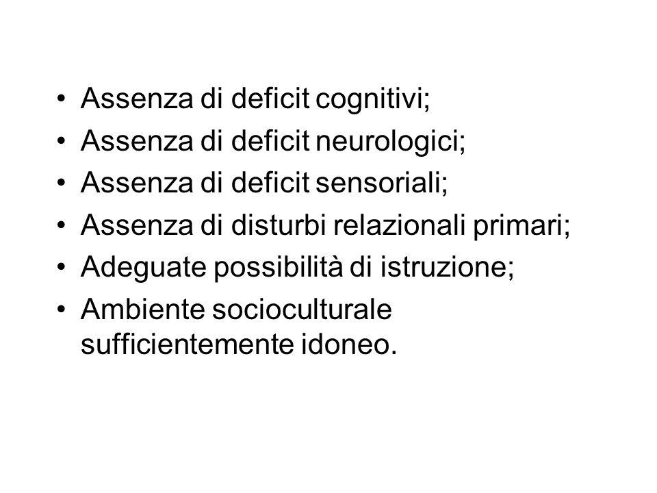 Assenza di deficit cognitivi; Assenza di deficit neurologici; Assenza di deficit sensoriali; Assenza di disturbi relazionali primari; Adeguate possibi