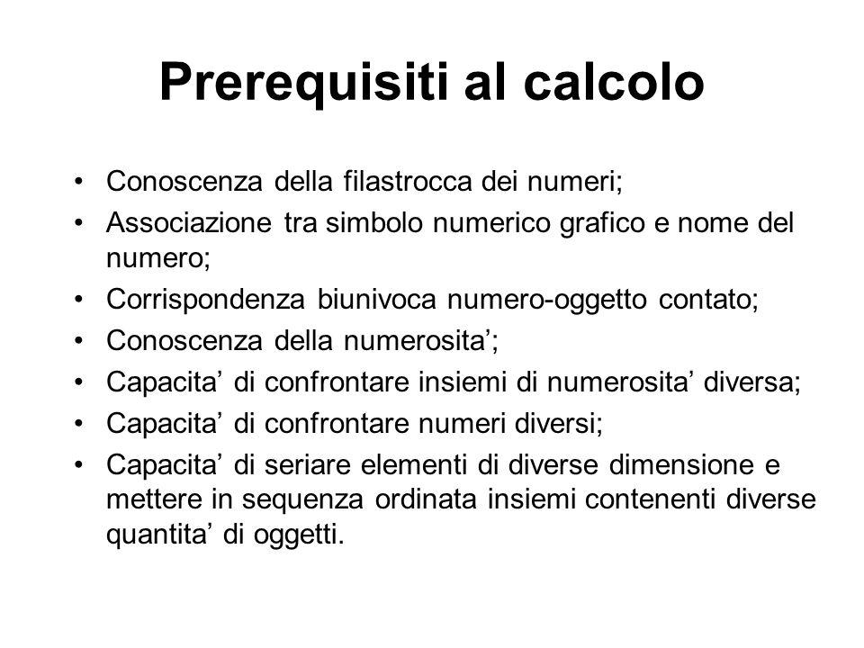 Prerequisiti al calcolo Conoscenza della filastrocca dei numeri; Associazione tra simbolo numerico grafico e nome del numero; Corrispondenza biunivoca