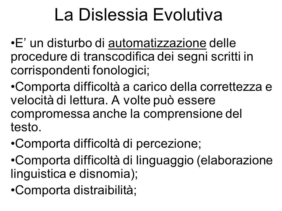 La Dislessia Evolutiva E un disturbo di automatizzazione delle procedure di transcodifica dei segni scritti in corrispondenti fonologici; Comporta dif