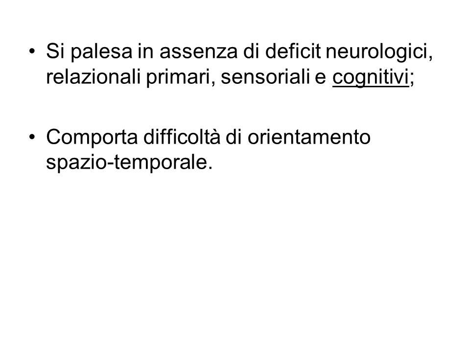 Si palesa in assenza di deficit neurologici, relazionali primari, sensoriali e cognitivi; Comporta difficoltà di orientamento spazio-temporale.