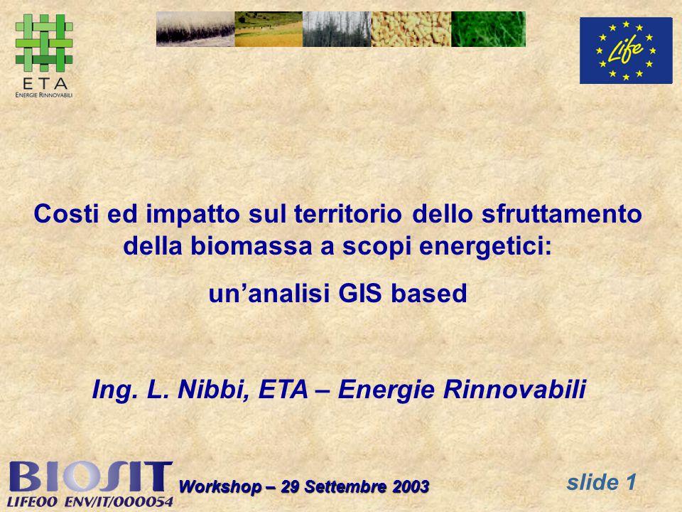 slide 1 Workshop – 29 Settembre 2003 Costi ed impatto sul territorio dello sfruttamento della biomassa a scopi energetici: unanalisi GIS based Ing. L.