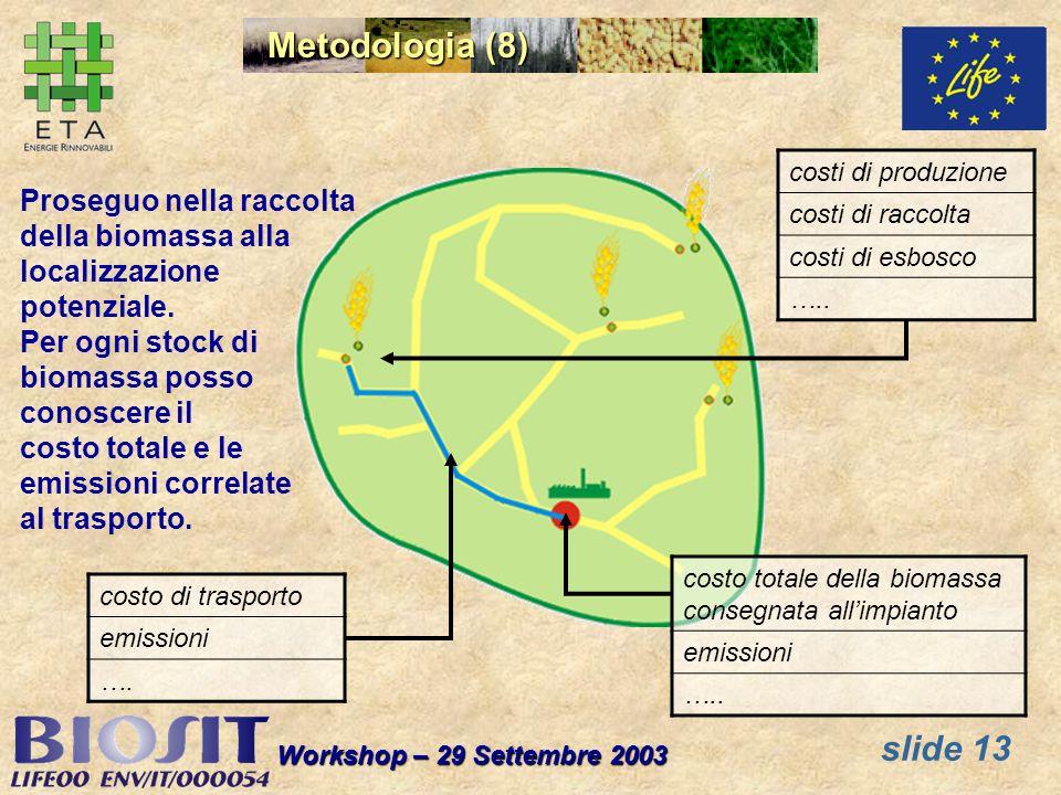 slide 13 Workshop – 29 Settembre 2003 Metodologia (8) Proseguo nella raccolta della biomassa alla localizzazione potenziale.