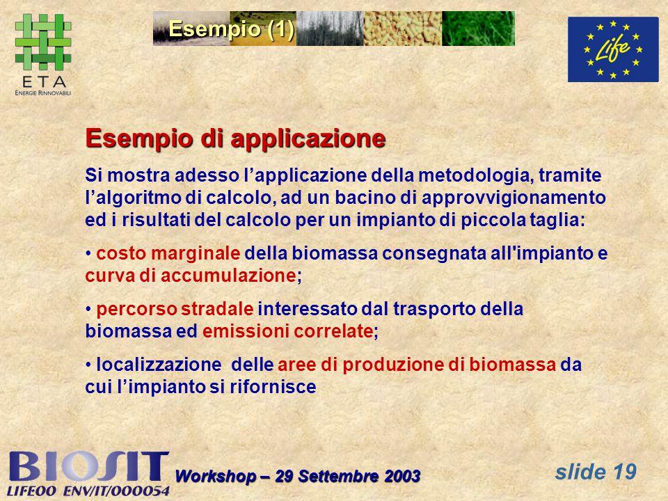 slide 19 Workshop – 29 Settembre 2003 Esempio (1) Esempio di applicazione Si mostra adesso lapplicazione della metodologia, tramite lalgoritmo di calc