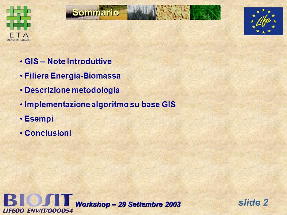 slide 2 Workshop – 29 Settembre 2003 Sommario GIS – Note Introduttive Filiera Energia-Biomassa Descrizione metodologia Implementazione algoritmo su base GIS Esempi Conclusioni