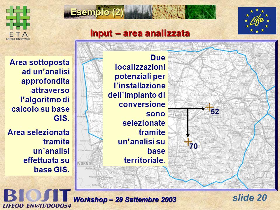 slide 20 Workshop – 29 Settembre 2003 Esempio (2) Area sottoposta ad unanalisi approfondita attraverso lalgoritmo di calcolo su base GIS. Area selezio