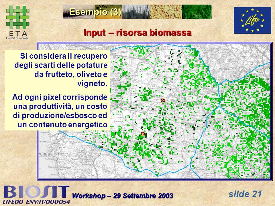 slide 21 Workshop – 29 Settembre 2003 Si considera il recupero degli scarti delle potature da frutteto, oliveto e vigneto. Ad ogni pixel corrisponde u