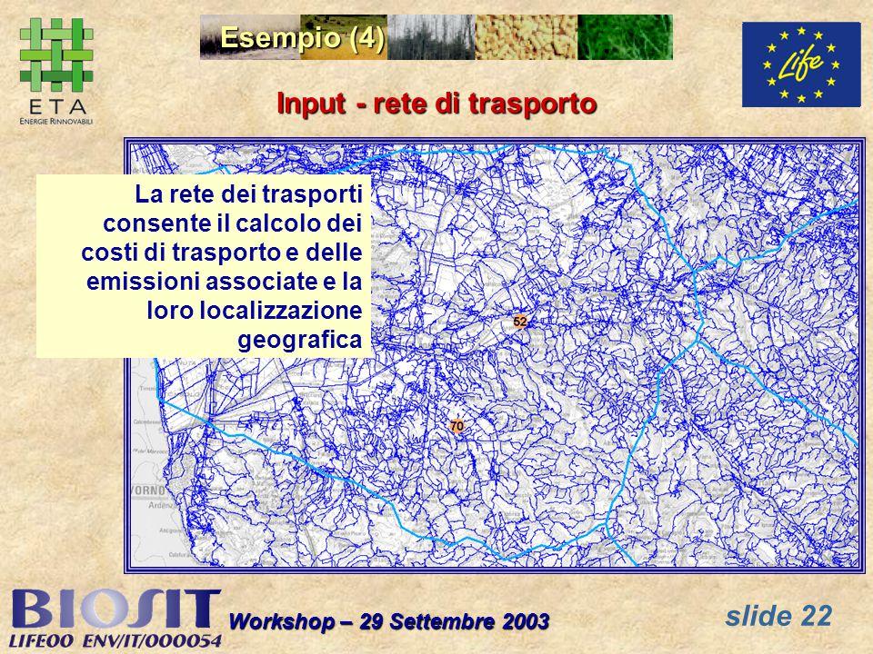 slide 22 Workshop – 29 Settembre 2003 La rete dei trasporti consente il calcolo dei costi di trasporto e delle emissioni associate e la loro localizzazione geografica Input - rete di trasporto Esempio (4)