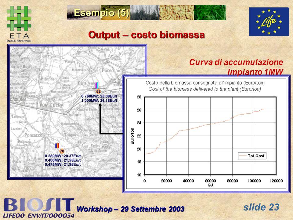slide 23 Workshop – 29 Settembre 2003 Esempio (5) Output – costo biomassa Curva di accumulazione Impianto 1MW