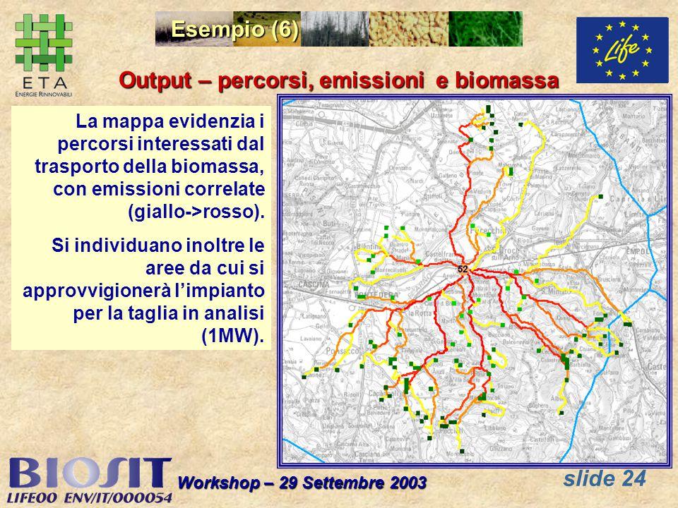 slide 24 Workshop – 29 Settembre 2003 Esempio (6) Output – percorsi, emissioni e biomassa La mappa evidenzia i percorsi interessati dal trasporto della biomassa, con emissioni correlate (giallo->rosso).