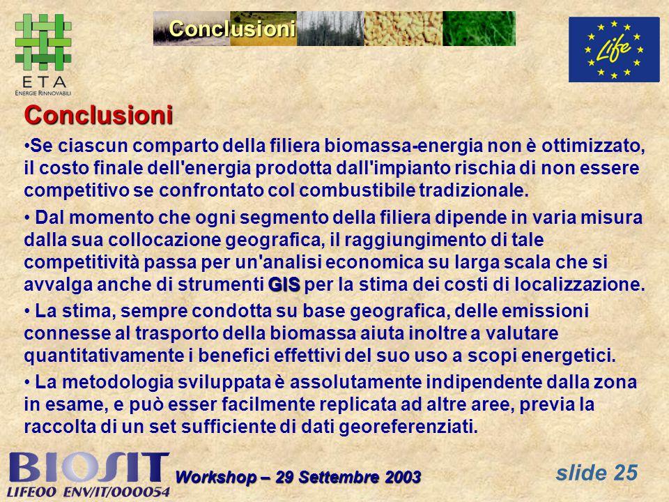 slide 25 Workshop – 29 Settembre 2003 Conclusioni Conclusioni Se ciascun comparto della filiera biomassa-energia non è ottimizzato, il costo finale dell energia prodotta dall impianto rischia di non essere competitivo se confrontato col combustibile tradizionale.