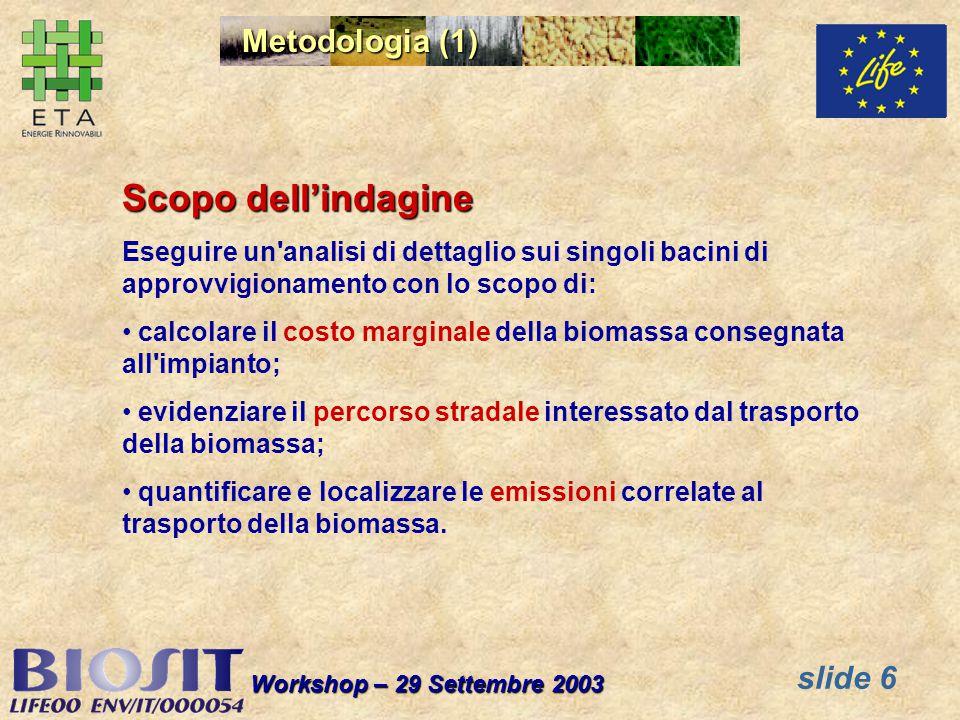 slide 6 Workshop – 29 Settembre 2003 Metodologia (1) Scopo dellindagine Eseguire un'analisi di dettaglio sui singoli bacini di approvvigionamento con