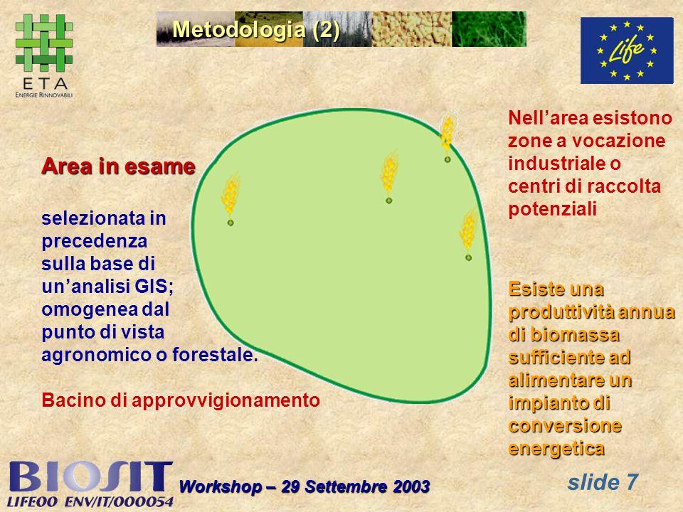 slide 7 Workshop – 29 Settembre 2003 Area in esame selezionata in precedenza sulla base di unanalisi GIS; omogenea dal punto di vista agronomico o forestale.
