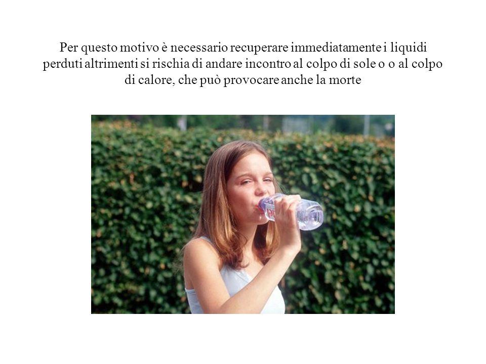 Per questo motivo è necessario recuperare immediatamente i liquidi perduti altrimenti si rischia di andare incontro al colpo di sole o o al colpo di c