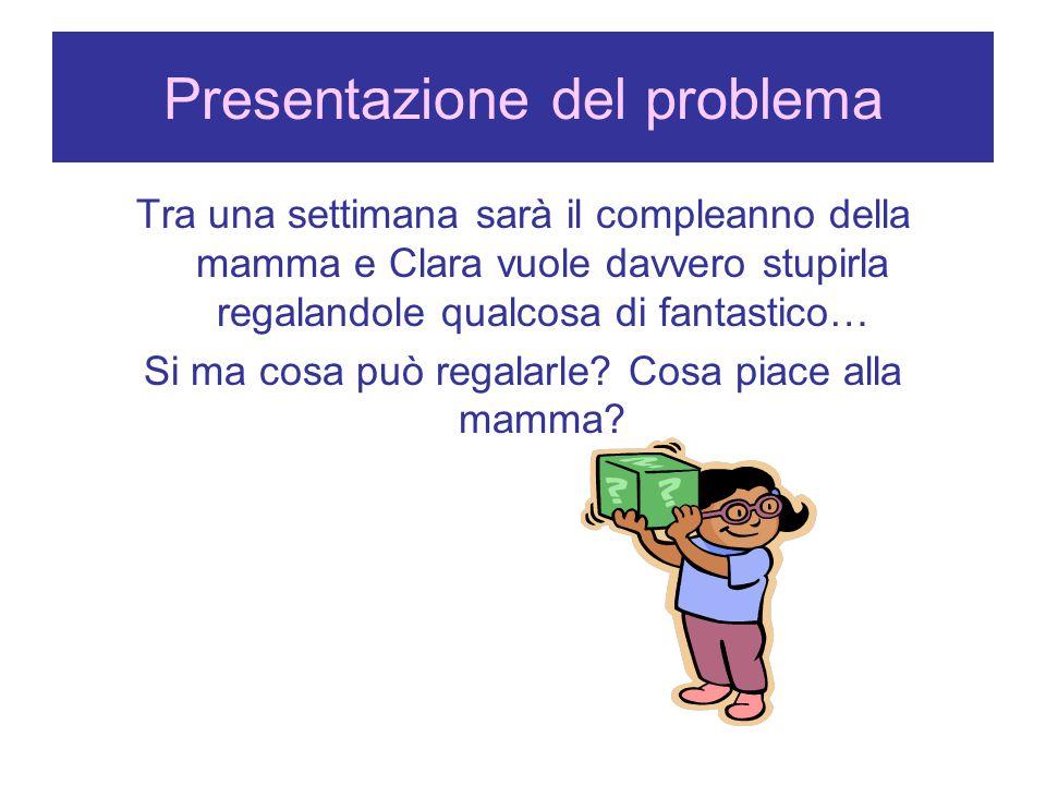 Presentazione del problema Tra una settimana sarà il compleanno della mamma e Clara vuole davvero stupirla regalandole qualcosa di fantastico… Si ma c