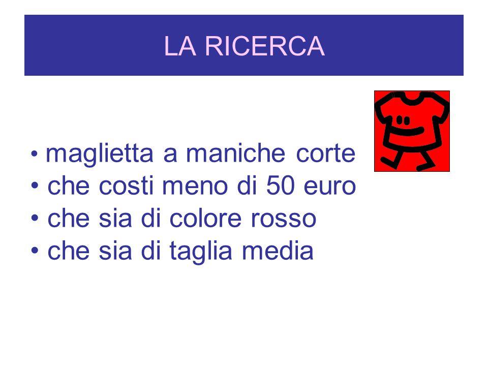 LA RICERCA Primo negozio: il colore, il prezzo e il modello erano come li voleva ma non cera la taglia della mamma Secondo negozio: Non hanno magliette da donna rosse… Terzo negozio: Clara trova una maglietta a maniche corte, rossa, di taglia media e costa 45 euro.