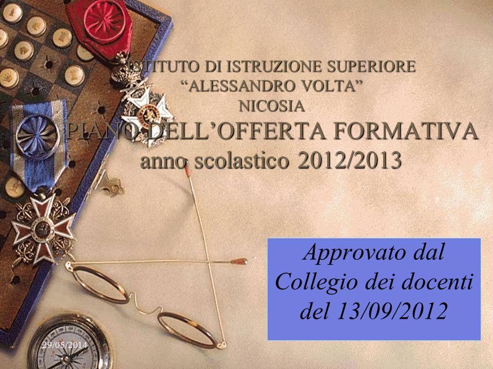29/05/2014 ISTITUTO DI ISTRUZIONE SUPERIORE ALESSANDRO VOLTA NICOSIA PIANO DELLOFFERTA FORMATIVA anno scolastico 2012/2013 Approvato dal Collegio dei