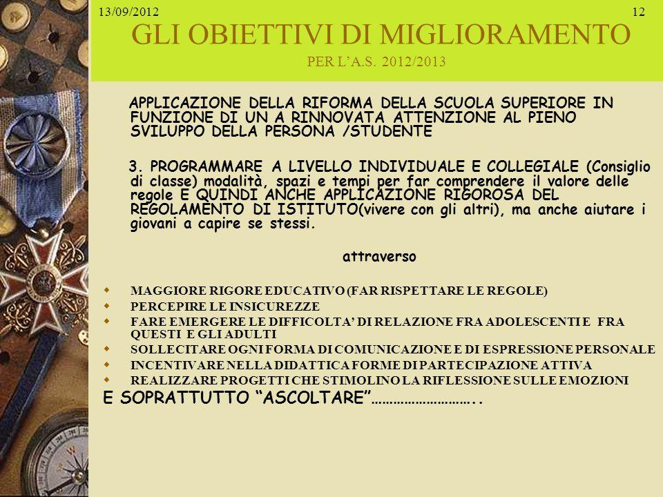 29/05/201412 GLI OBIETTIVI DI MIGLIORAMENTO PER LA.S. 2012/2013 APPLICAZIONE DELLA RIFORMA DELLA SCUOLA SUPERIORE IN FUNZIONE DI UN A RINNOVATA ATTENZ