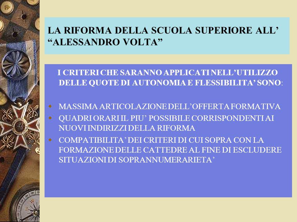 LA RIFORMA DELLA SCUOLA SUPERIORE ALL ALESSANDRO VOLTA I CRITERI CHE SARANNO APPLICATI NELLUTILIZZO DELLE QUOTE DI AUTONOMIA E FLESSIBILITA SONO: MASS