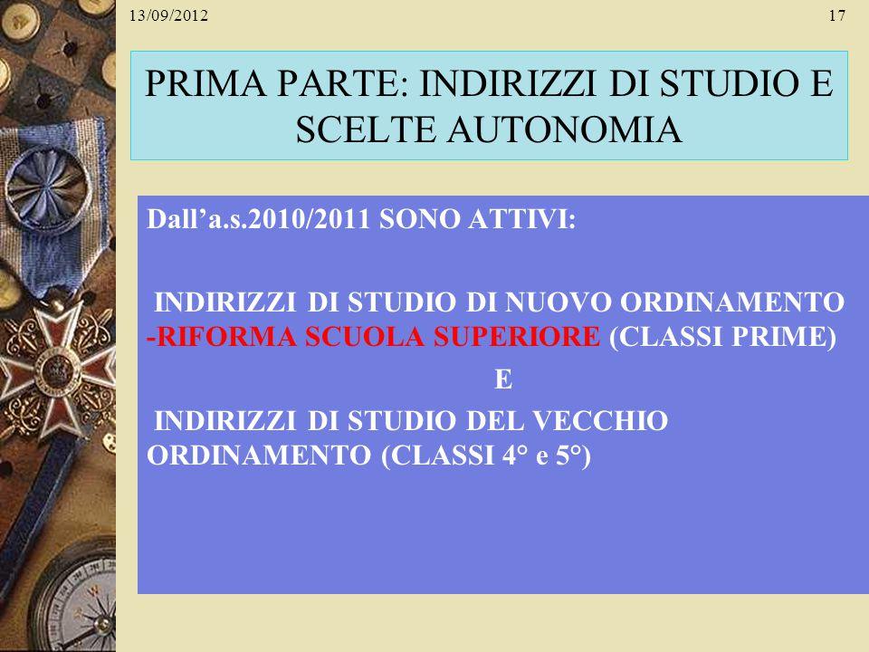 13/09/201217 PRIMA PARTE: INDIRIZZI DI STUDIO E SCELTE AUTONOMIA Dalla.s.2010/2011 SONO ATTIVI: INDIRIZZI DI STUDIO DI NUOVO ORDINAMENTO -RIFORMA SCUO