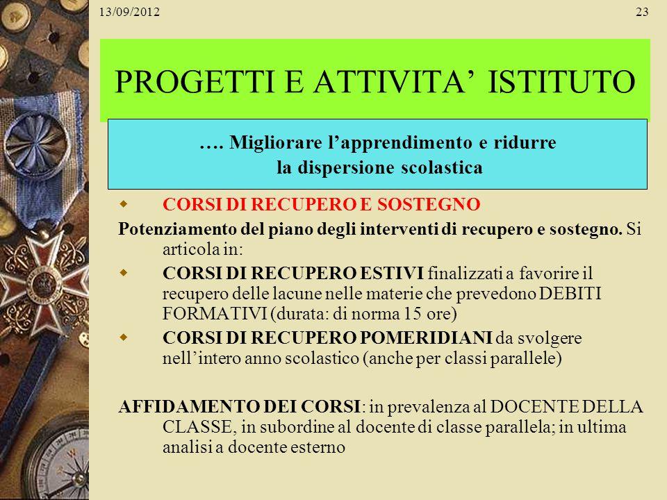 13/09/201223 PROGETTI E ATTIVITA ISTITUTO CORSI DI RECUPERO E SOSTEGNO Potenziamento del piano degli interventi di recupero e sostegno. Si articola in