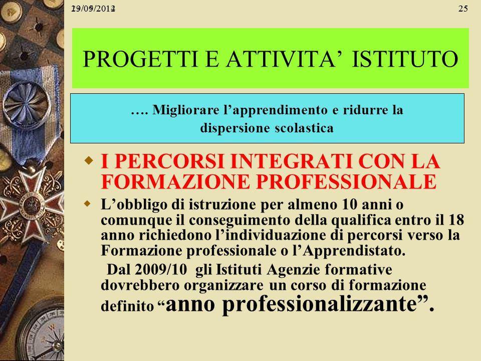 29/05/201425 I PERCORSI INTEGRATI CON LA FORMAZIONE PROFESSIONALE Lobbligo di istruzione per almeno 10 anni o comunque il conseguimento della qualific