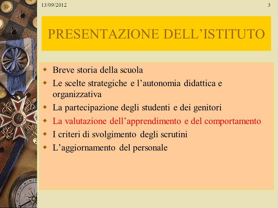 13/09/20123 PRESENTAZIONE DELLISTITUTO Breve storia della scuola Le scelte strategiche e lautonomia didattica e organizzativa La partecipazione degli