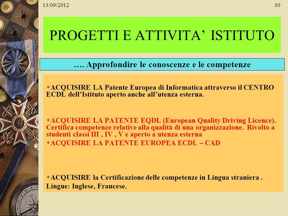 13/09/201230 PROGETTI E ATTIVITA ISTITUTO ACQUISIRE LA Patente Europea di Informatica attraverso il CENTRO ECDL dellIstituto aperto anche allutenza es