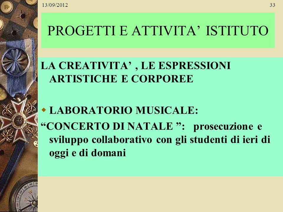 13/09/201233 PROGETTI E ATTIVITA ISTITUTO LA CREATIVITA, LE ESPRESSIONI ARTISTICHE E CORPOREE LABORATORIO MUSICALE: CONCERTO DI NATALE : prosecuzione